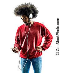 silueta, isolado, escutar música, homem africano