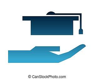 silueta, isolado, graduação, mão, chapéu, ícone