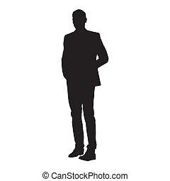silueta, isolado, vetorial, paleto, homem negócios fica