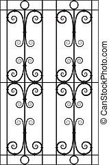 silueta, janela, desenho, ferro, cutout, forjado