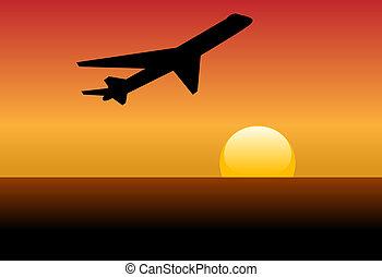 silueta, jato, pôr do sol, linha aérea, decolagem, alvorada, ou