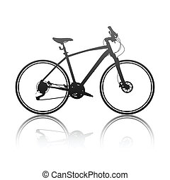 silueta, jezdit na kole, hybridní