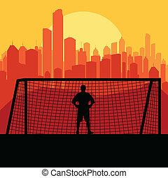 silueta, jogador de futebol, vetorial, fundo, futebol, goleiro