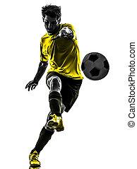 silueta, jogador, futebol, jovem, chutando, brasileiro,...
