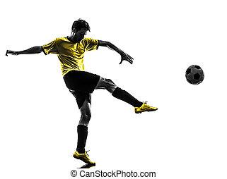 silueta, jogador, futebol, jovem, chutando, brasileiro, futebol, homem