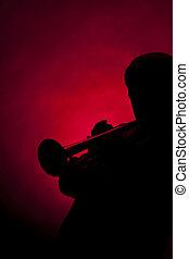 silueta, jogador, macho sênior, trompete, vermelho