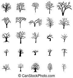 silueta, jogo, árvore, caído