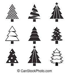 silueta, jogo, árvore, pinho, vetorial, ícone