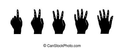 silueta, jogo, isolado, mão, experiência preta, branca, gesto