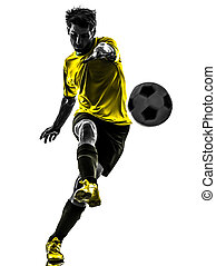 silueta, jugador, fútbol, joven, patear, brasileño, futbol,...