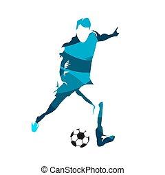 silueta, jugador, resumen, patear, vector, pelota del fútbol