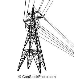 silueta, líneas de alimentación, ilustración, alto voltaje,...