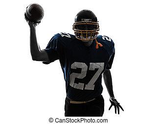 silueta, lanzamiento, futbolista, norteamericano, ...
