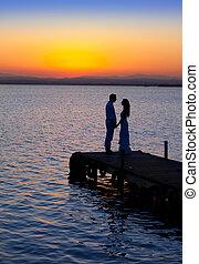 silueta, lehký, dvojice, obránce, jezero, láska