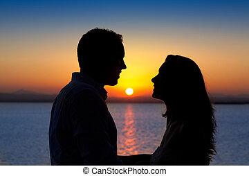 silueta, lehký, dvojice, obránce, jezero, západ slunce, láska