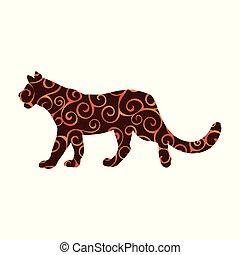 silueta, leoa, cor, padrão, espiral, predador, animal., wildcat