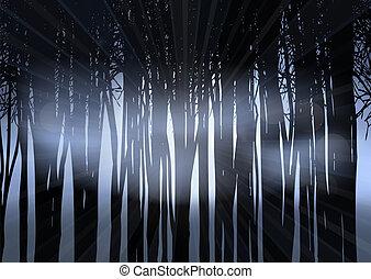 silueta, les, večer