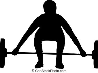 silueta, levantamento peso