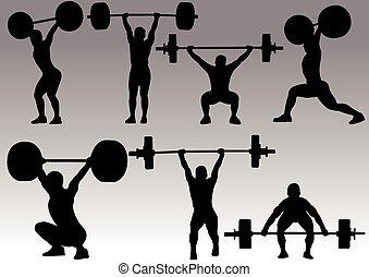 silueta, levantamiento de pesas