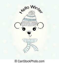 silueta, lindo, oso pequeño, con, tejido, gorra, y, scarf.