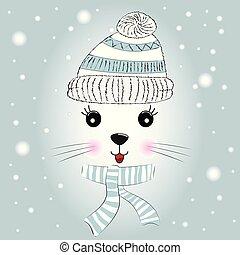 silueta, lindo, poco, gatito, con, tejido, gorra, y, scarf.