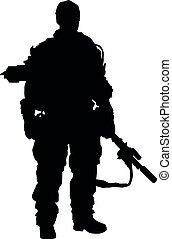 silueta, máquina, mano, soldado, realista, macho, arriba, gru, sajeret., lleno, arma de fuego, ksk, especial, completamente, aislado, fuerzas, equipo, tal, armamento, marinos, ejército, automático, posición