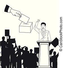 silueta, mão, audiência, fala, fazer, votando, homem