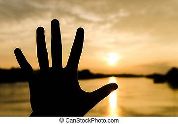 silueta, mão