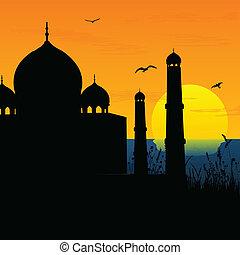 silueta, mahal, índia, amanhecer, agra, taj, vista