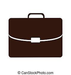 silueta, maletín, ejecutivo, icono, plano