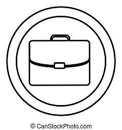 silueta, maletín, marco, ejecutivo, icono, circular
