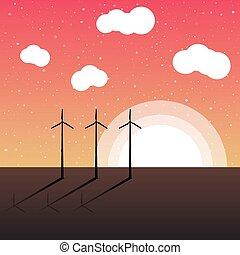 silueta, manhã, cedo, vetorial, geradores, paisagem, vento, vista