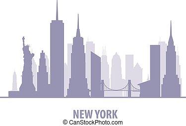 silueta, manhatten, -, contorno, york, cityscape, nuevo