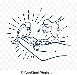 silueta, mano, aves, semillas, lineal, alimentación