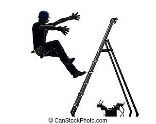 silueta, manual, caer, trabajador, hombre, escalera