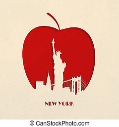 silueta, manzana, grande, recorte, york, nuevo