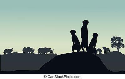 silueta, meerkat, rinoceronte