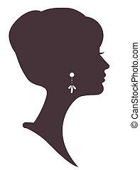 silueta, menina, bonito, penteado, elegante