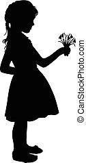 silueta, menina, com, flores