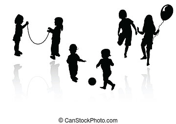 silueta, meninas, tocando, meninos