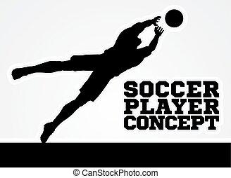 silueta, meta, jogador, guarda, mergulhar, futebol