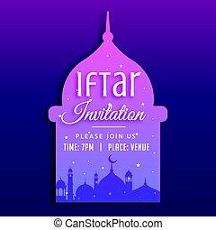 silueta, mezquita, iftar, plano de fondo, invitación, fiesta