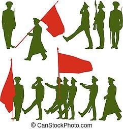 silueta, militar, pessoas, com, bandeiras, collection., vetorial, illu