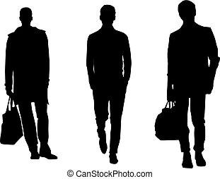 silueta, moda, hombres