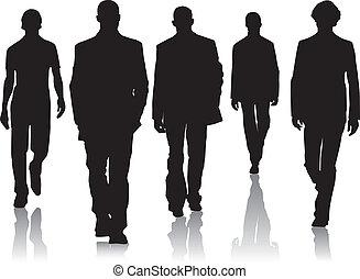 silueta, moda, homens