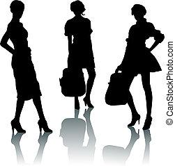 silueta, moda, meninas