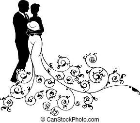 silueta, model, abstraktní, čeledín, nevěsta, svatba