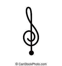 silueta, monocromo, con, señal, música, clave de sol