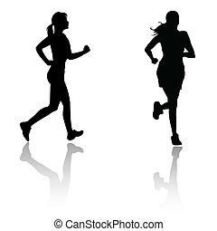 silueta, mujer, corra
