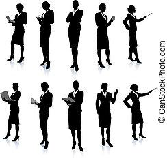 silueta, mujer de negocios, colección